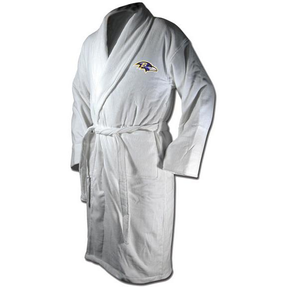 Baltimore Ravens White Terrycloth Bathrobe Manufactured by Wincraft-Wincraft-Top Notch Gift Shop