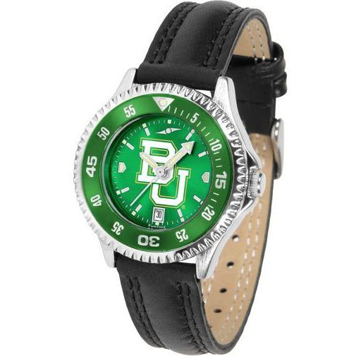 Baylor Bears Ladies Competitor Ano Poly/Leather Band Watch w/ Colored Bezel-Suntime-Top Notch Gift Shop