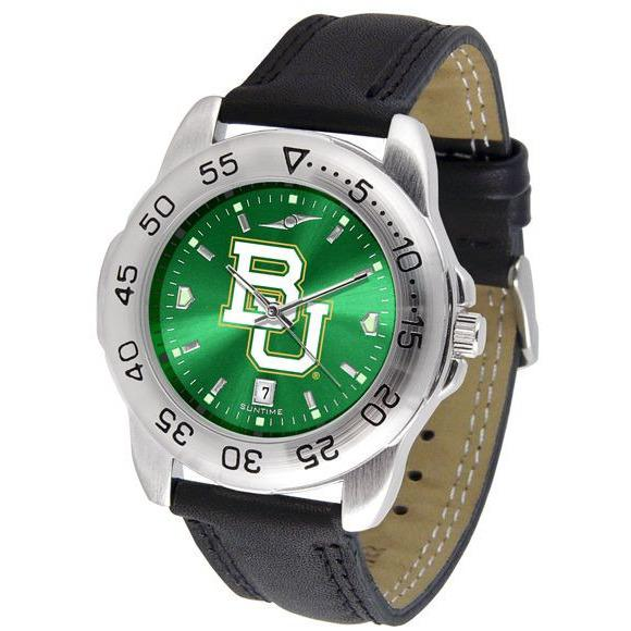 Baylor Bears Mens AnoChrome Leather Band Sports Watch-Watch-Suntime-Top Notch Gift Shop