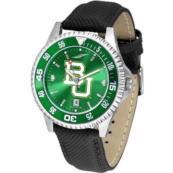 Baylor Bears Mens Competitor Ano Poly/Leather Band Watch w/ Colored Bezel-Watch-Suntime-Top Notch Gift Shop