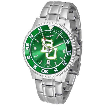 Baylor Bears Mens Competitor AnoChrome Steel Band Watch w/ Colored Bezel