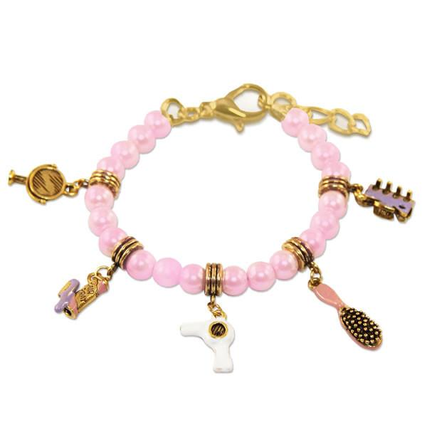 Beautician Charm Bracelet in Gold-Whimsical GiftsTop Notch Gift Shop