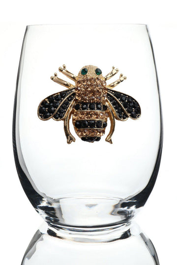 Queen Bee Jeweled Stemless Wine Glass