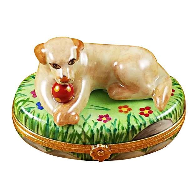 Beige Lab With Ball Limoges Box-Limoges Box-Rochard-Top Notch Gift Shop
