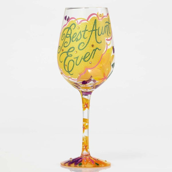 Best Aunt Ever Wine Glass by Lolita®-Wine Glass-Designs by Lolita® (Enesco)-Top Notch Gift Shop
