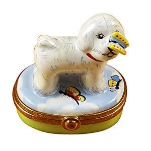 Bichon Frise W/Butterfly Limoges Box by Rochard™-Rochard-Top Notch Gift Shop