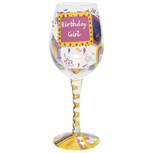 Birthday Girl Wine Glass by Lolita®-Wine Glass-Designs by Lolita® (Enesco)-Top Notch Gift Shop