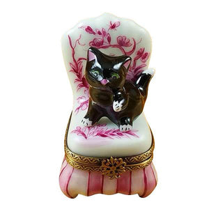 Black Cat On Toile Chair Limoges Box by Rochard™-Limoges Box-Rochard-Top Notch Gift Shop