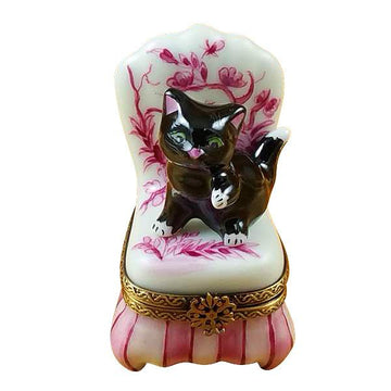 Black Cat On Toile Chair Limoges Box by Rochard™