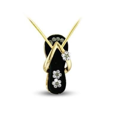 Black Flower Strap Flip Flop Necklace in Gold Plate-Sandals For Your Neck-Top Notch Gift Shop