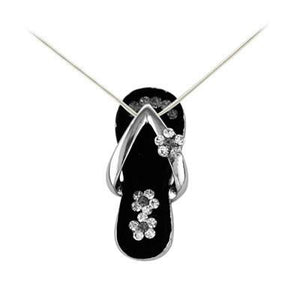 Black Flower Strap Flip Flop Necklace in Silver-Sandals For Your Neck-Top Notch Gift Shop