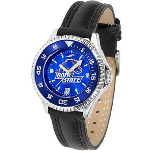 Boise State Broncos Ladies Competitor Ano Poly/Leather Band Watch w/ Colored Bezel-Suntime-Top Notch Gift Shop