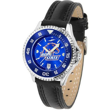 Boise State Broncos Ladies Competitor Ano Poly/Leather Band Watch w/ Colored Bezel