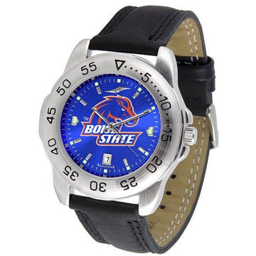 Boise State Broncos Mens AnoChrome Leather Band Sports Watch