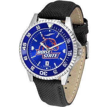 Boise State Broncos Mens Nylon/Leather Band Watch w/ Colored Bezel