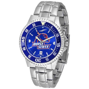 Boise State Broncos Mens Competitor AnoChrome Steel Band Watch w/ Colored Bezel-Watch-Suntime-Top Notch Gift Shop