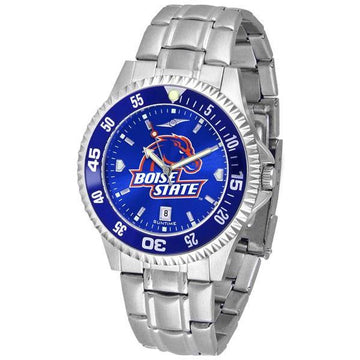 Boise State Broncos Mens Competitor AnoChrome Steel Band Watch w/ Colored Bezel