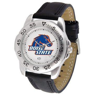 Boise State Broncos Mens Leather Band Sports Watch