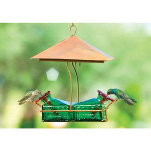 Bouquet Basketweave Shelter Hummingbird Feeder-Bird Feeder-Parasol Gardens-Top Notch Gift Shop
