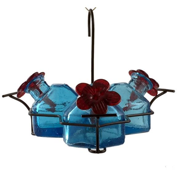 Bouquet Classic 3 Hummingbird Feeder - Aqua-Parasol Gardens-Top Notch Gift Shop