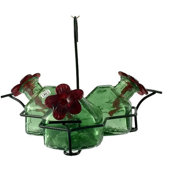 Bouquet Classic 3 Hummingbird Feeder - Green-Parasol Gardens-Top Notch Gift Shop