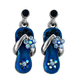 Caribbean Blue Crystal Flip Flop Earrings in White Gold Plate-Sandals For Your Neck-Top Notch Gift Shop