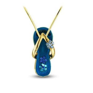 Caribbean Blue Flower Strap Flip Flop Necklace in Gold Plate-Sandals For Your Neck-Top Notch Gift Shop