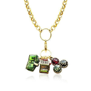 Casino Charm Necklace in Gold-Necklace-Whimsical Gifts-Top Notch Gift Shop