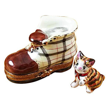 Cat In Burberry Boot Limoges Box by Rochard™