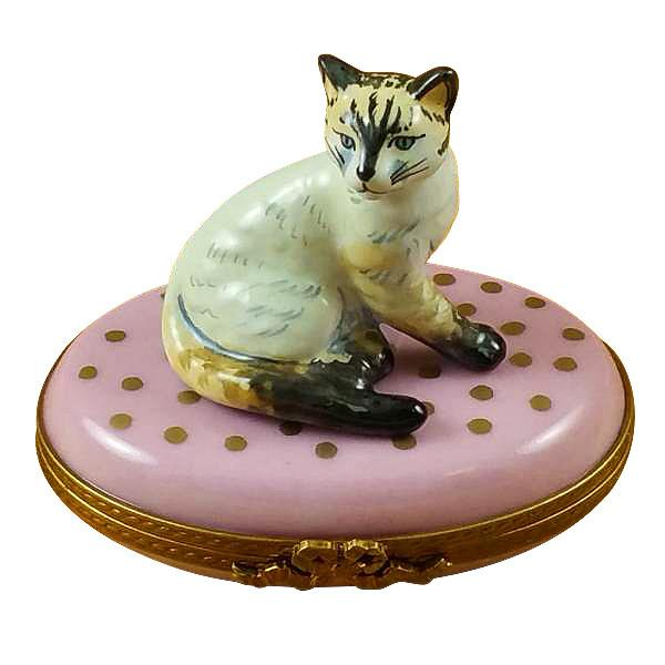 Cat On Pink Base Limoges Box by Rochard™-Rochard-Top Notch Gift Shop