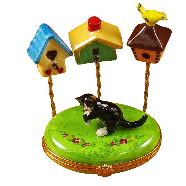 Cat With Three Birdhouses Limoges Box by Rochard™-Limoges Box-Rochard-Top Notch Gift Shop