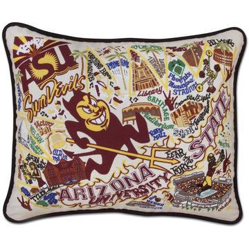 Arizona State University Embroidered Pillow by Catstudio
