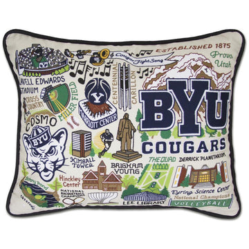 Brigham Young University Catstudio Embroidered Pillow