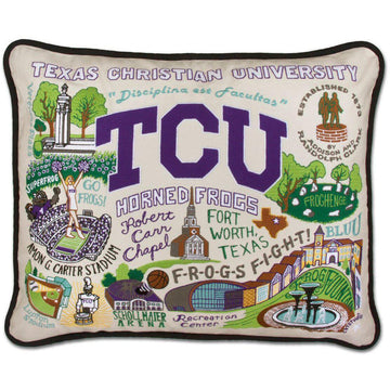 TCU  Embroidered Catstudio Pillow