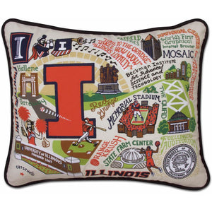 CatStudio Embroidered University of Illinois Pillow-Catstudio-Top Notch Gift Shop