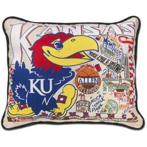 University of Kansas Embroidered Catstudio Pillow-Pillow-CatStudio-Top Notch Gift Shop