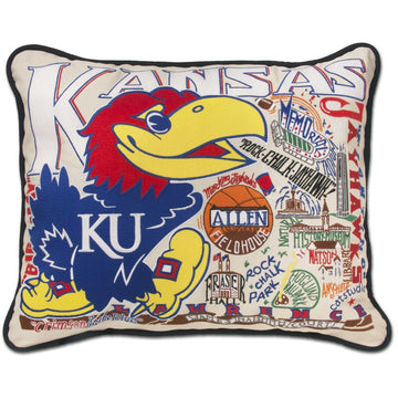 University of Kansas Embroidered Catstudio Pillow