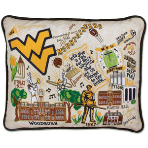 West Virginia University Embroidered Catstudio Pillow-Pillow-CatStudio-Top Notch Gift Shop