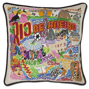 CatStudio Hand Embroidered Rio De Janeiro Accent Pillow-Pillow-CatStudio-Top Notch Gift Shop