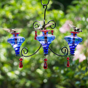 Mini-Blossom Blown Glass Chandelier 3 Hummingbird Feeder - Blue