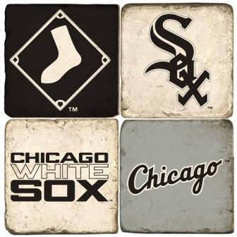 Chicago White Sox Italian Marble Coasters with Wrought Iron Holder (set of 4)