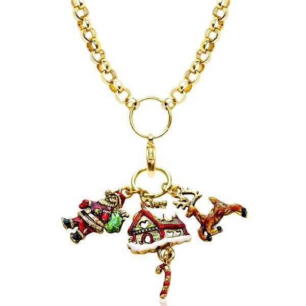 Christmas Charm Necklace in Gold-Necklace-Whimsical Gifts-Top Notch Gift Shop