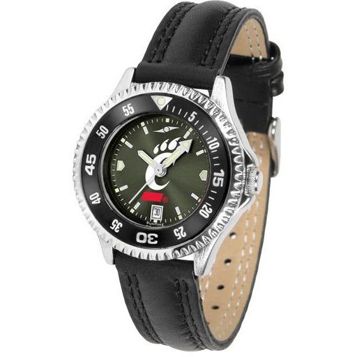Cincinnati Bearcats Ladies Competitor Ano Poly/Leather Band Watch w/ Colored Bezel-Suntime-Top Notch Gift Shop