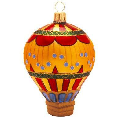 Circus Balloon Gold Blown Glass Christmas Ornament-Ornament-Landmark Creations-Top Notch Gift Shop