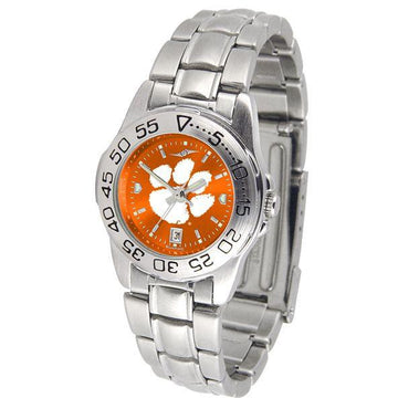 Clemson Tigers Ladies AnoChrome  Steel Band Sports Watch