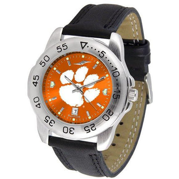 Clemson Tigers Mens AnoChrome Leather Band Sports Watch