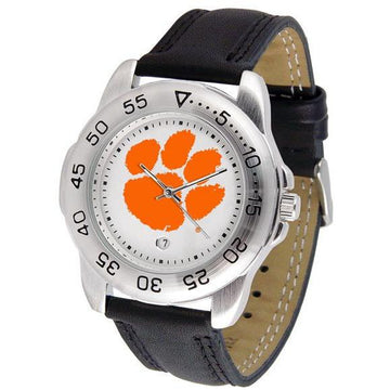 Clemson Tigers Mens Leather Band Sports Watch