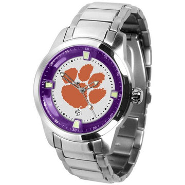 Clemson Tigers Men's Titan Stainless Steel Band Watch