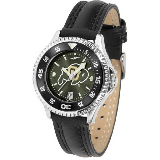 Colorado Buffaloes Ladies Competitor Ano Poly/Leather Band Watch w/ Colored Bezel-Suntime-Top Notch Gift Shop