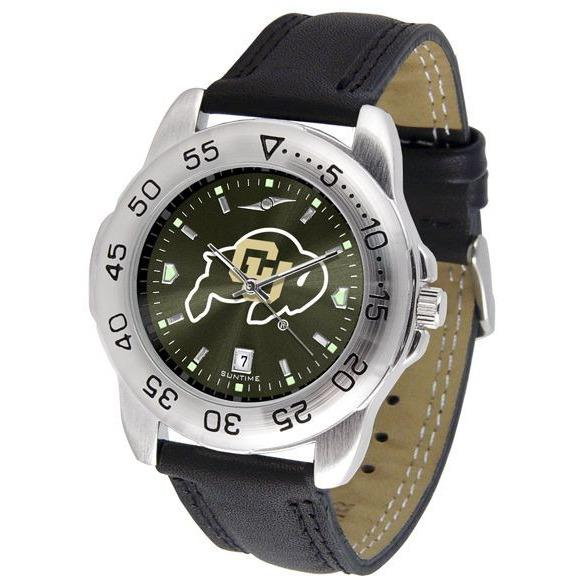 Colorado Buffaloes Mens AnoChrome Leather Band Sports Watch-Suntime-Top Notch Gift Shop